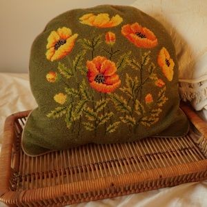 Embroidered vintage throw pillow